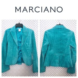 Marciano aqua suede leather fitted jacket